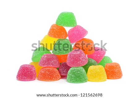 gumdrops of different colors on a white background - stock photo