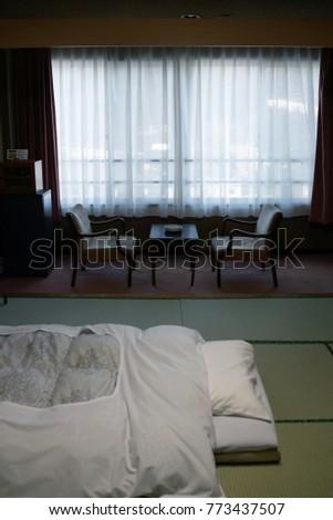 gumma japan april 18 2015futon bed on tatami flooring in japanese ryokan