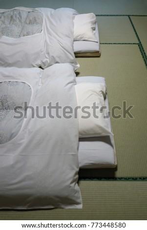 gumma japan april 18 futon bed on tatami flooring in japanese ryokan