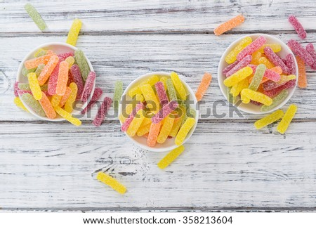 Gummi Candy (sweet and sour) with selective focus - stock photo
