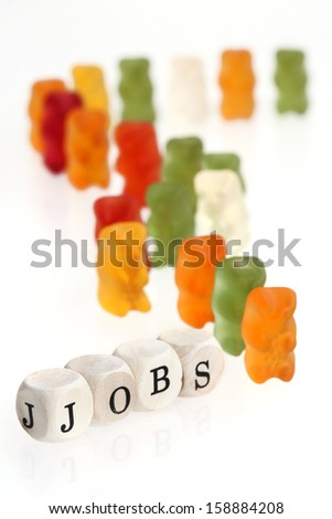 Gummy Bear series - lining up for jobs (conceptual) - stock photo