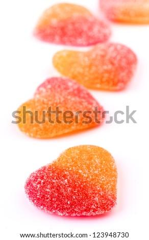 gummy heart shaped sugar coated - stock photo