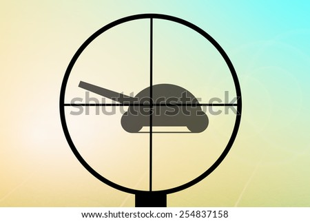 gun aimed at the tank - stock photo