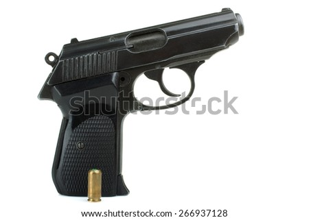 gun and bullets isolated - stock photo