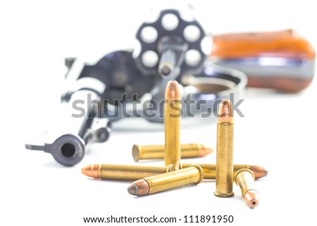 gun and bullets isolated on white background - stock photo