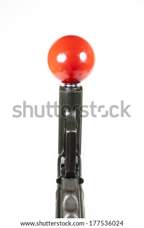 gun and snooker Games On white background - stock photo