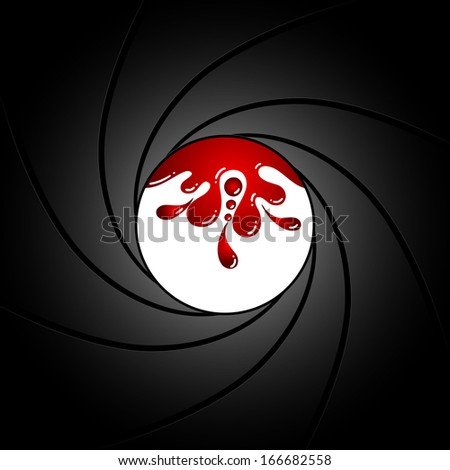 Gun barrel inside with blood - stock photo