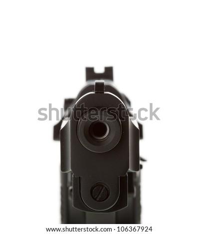gun barrel isolated on white background - stock photo