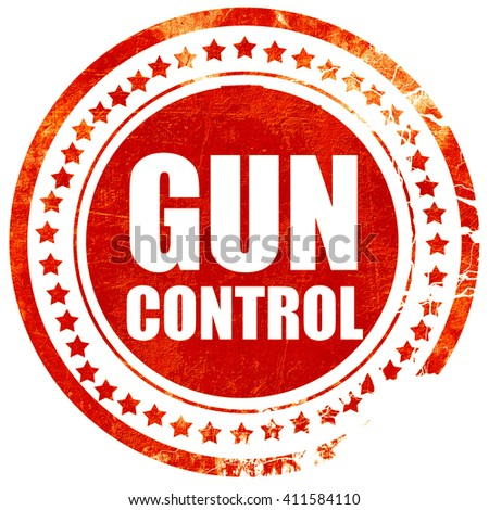 gun control, red grunge stamp on solid background - stock photo