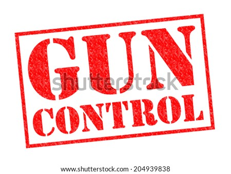 GUN CONTROL red Rubber Stamp over a white background. - stock photo