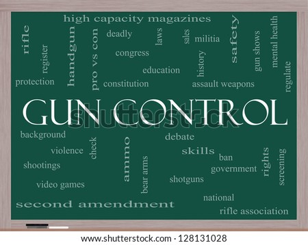 Gun Control Word Cloud Concept on a Blackboard with great terms such as second, amendment, right, bear, arms, violence and more. - stock photo