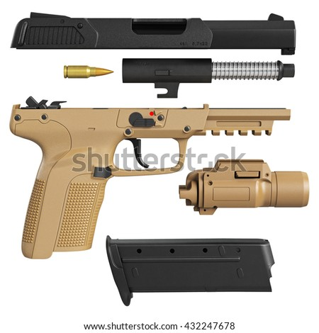 Gun disassembled military, police with flashlight. 3D graphic - stock photo