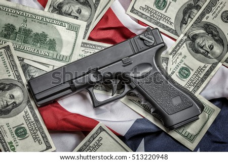 gun, dollar and american flag, toned like instagram filter