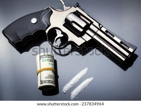 Gun, drugs and money - stock photo