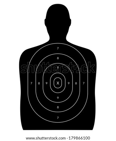 Gun firing range target shaped like a human, blank with no bullet holes. Isolated on a white background with clipping path. - stock photo
