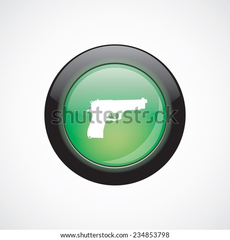 gun glass sign icon green shiny button. ui website button   - stock photo