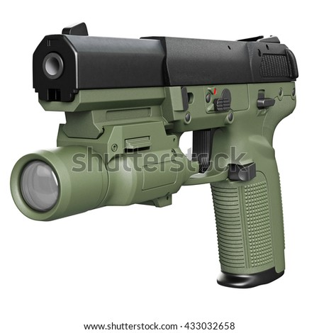 Gun green military, police with flashlight. 3D graphic - stock photo