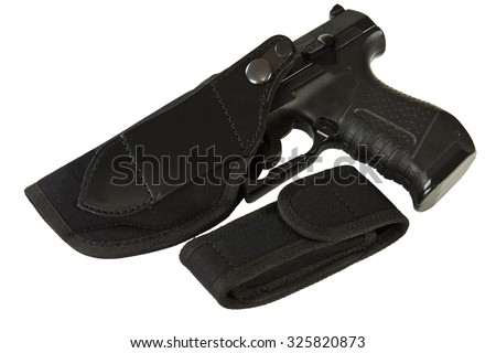 Gun holster made of leather and textile material on a white background