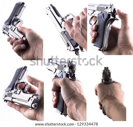 Gun in Arm Set Isolated On White Background - stock photo