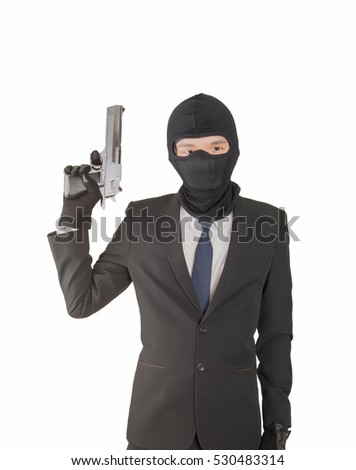 gun in business man hand isolated on white background