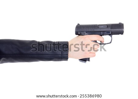 gun in female hand isolated on white background