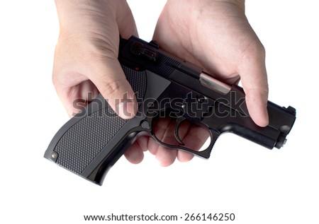Gun in hand - stock photo