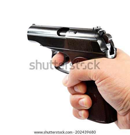 Gun in hand on a white background. - stock photo