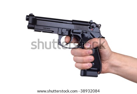 gun in hand on a white background - stock photo