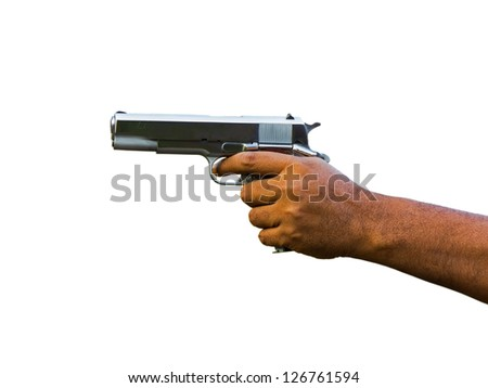 Gun in hand over white background - stock photo
