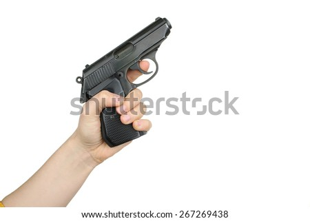 gun in the hand isolated - stock photo