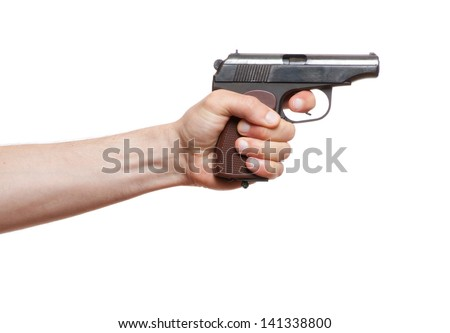 gun in the man's hand, isolated on white - stock photo
