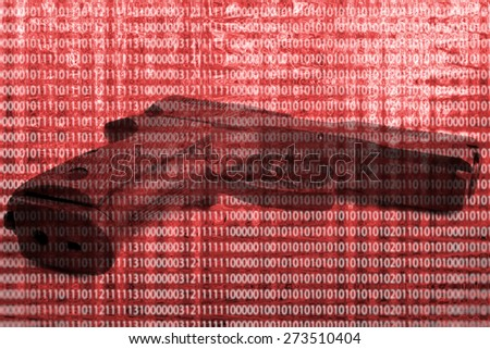 Gun isolated on red background - stock photo
