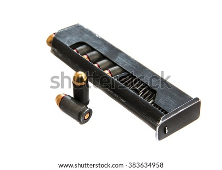 Gun magazin or cartridge with bullets isolated on white background - stock photo