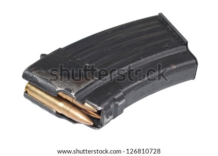 gun magazin with ammo - stock photo