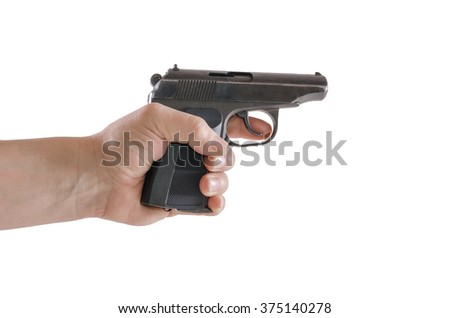 gun makarov in hand isolated on white background - stock photo