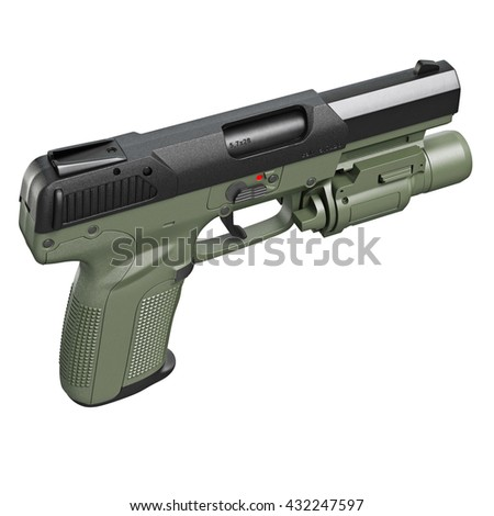 Gun military, police with flashlight, top view. 3D graphic