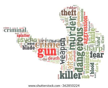 Gun murder, word cloud concept on white background. - stock photo