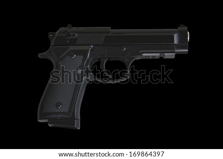 gun on black background, isolated