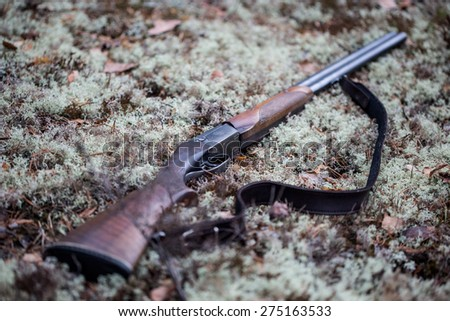 Gun on the ground. Shotgun on the moss. Sharpness on the trigger.