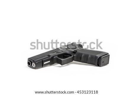 Gun on white background, semi automatic pistol - stock photo