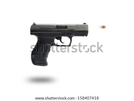 gun on white background with bullet moving out of the canyon - stock photo