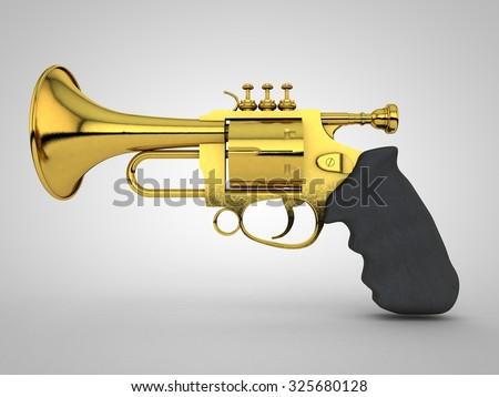 Gun shaped like trumpet - stock photo