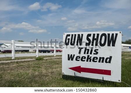 gun show sign - stock photo