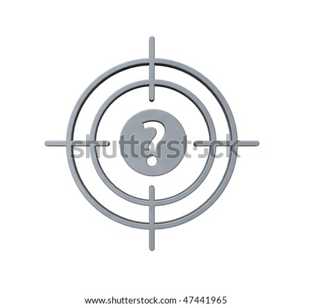 gun sight with question mark on white background - 3d illustration - stock photo