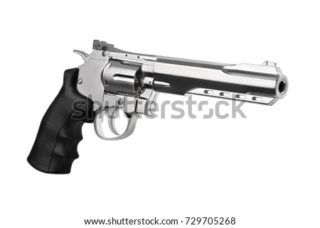 Gun  silver pistol isolated on white background