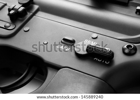 Gun switch on safe mode position - stock photo
