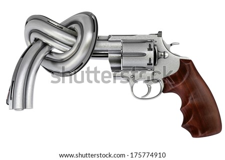 gun tied in a knot. Isolated on white. - stock photo