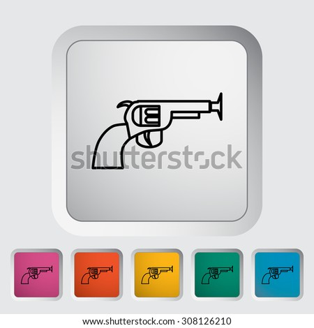 Gun toy thin line flat  related icon set for web and mobile applications. It can be used as - logo, pictogram, icon, infographic element.  Illustration.  - stock photo