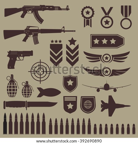 Gun, weapons and military icon set. Sub machine guns, pistol and bullets icons. Symbolics and badge for army. - stock photo