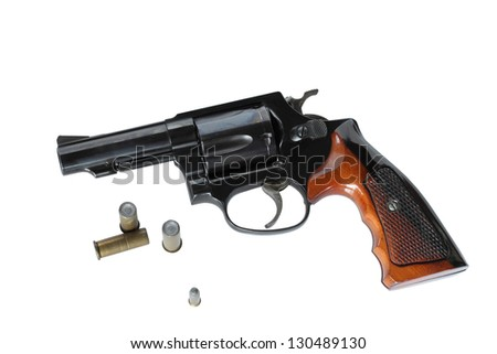 Gun with blank ammo on isolated.